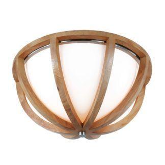 Efektowna lampa sufitowa Allier - szklany klosz w drewnianej oprawie, styl rustykalny