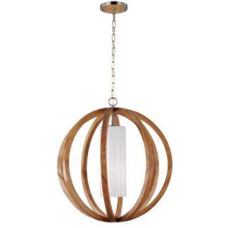 Duża lampa wisząca Allier - dębowy, ażurowy klosz w kształcie kuli