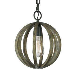 Nieduża lampa wisząca Allier - drewniany klosz, okrągła
