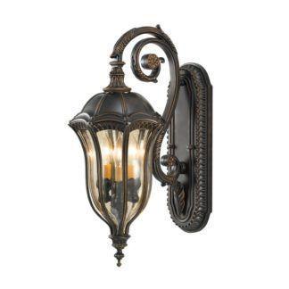 Klasyczna lampa ścienna Baton Rouge - bogato zdobiona, ciemobrązowa, IP44