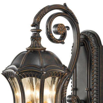 dekoracyjny brązowy kinkiet zewnętrzny