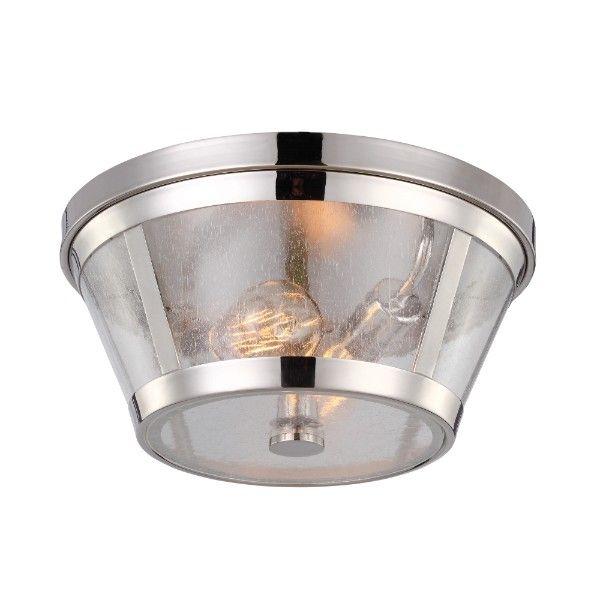 Srebrna lampa sufitowa Sutton - bezbarwny, szklany klosz