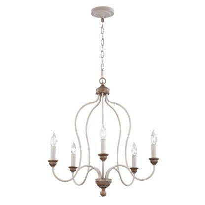 Elegancki żyrandol Hartsville - bielone świeczniki, brązowy