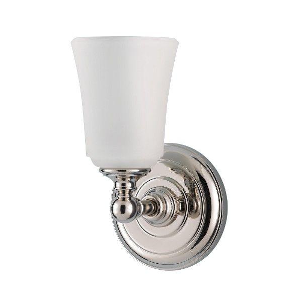 Kinkiet łazienkowy Huguenot - srebrna, okrągła podstawa, mleczny, szklany klosz, IP44
