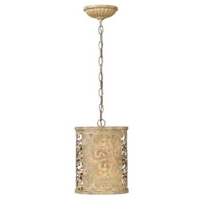 Klasyczna lampa wisząca Carabel - metalowy, ażurowy klosz w kształcie tuby