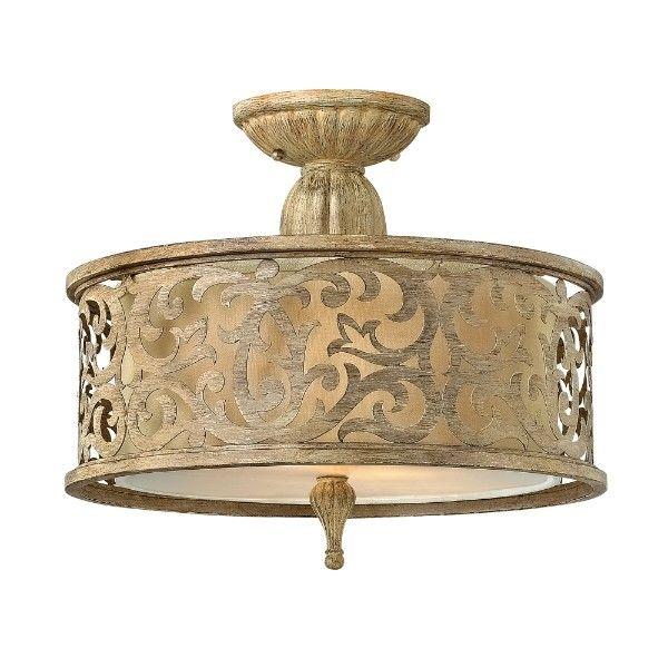 Klasyczna lampa sufitowa Carabel - bogate zdobienia, ażurowy klosz, mleczny dyfuzor