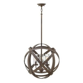 Brązowa lampa wisząca Carson - okrągły klosz z metalowych pasów, IP44