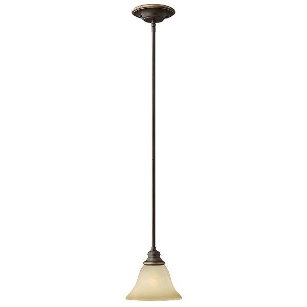 klasyczna lampa wisząca z mlecznym kloszem, brąz
