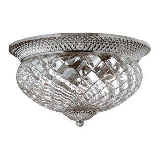 Lampa sufitowa Plantation - szklany, dekoracyjny klosz, srebrna oprawa