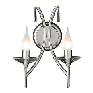 Podwójny kinkiet Brightwell - srebrny świecznik, klasyczny