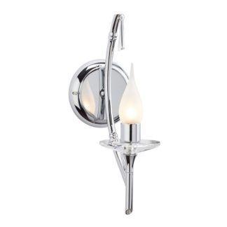 Metalowy kinkiet Brightwell - klasyczny świecznik, srebrny