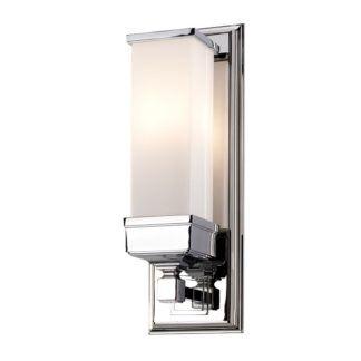 Elegancki kinkiet Cambrid - mleczne szkło, srebrny, IP44