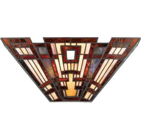 Witrażowy kinkiet Craftsman - ciepłe odcienie czerwieni