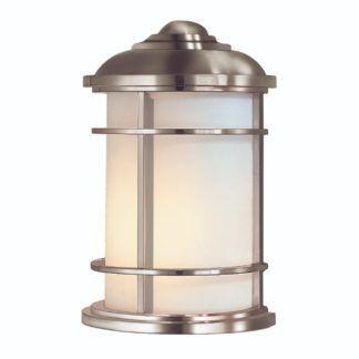 Efektowny kinkiet zewnętrzny Lighthouse S - mleczny klosz w srebrnej obudowie, IP44