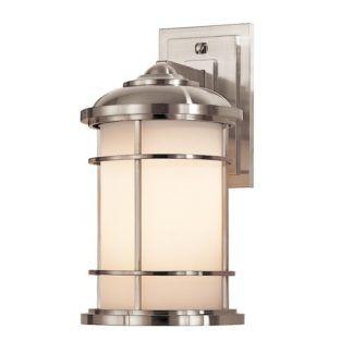Elegancki kinkiet Lighthouse - srebrna obudowa, szklany klosz, IP44