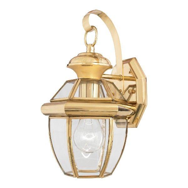 złoty kinkiet klasyczny zewnętrzny szklany