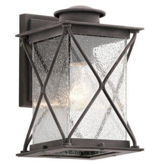 Kinkiet zewnętrzny Argyle - szklany klosz, brązowa oprawa, inspiracja latarnią