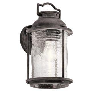 Postarzany kinkiet Ashlandbay - szklany klosz, latarnia