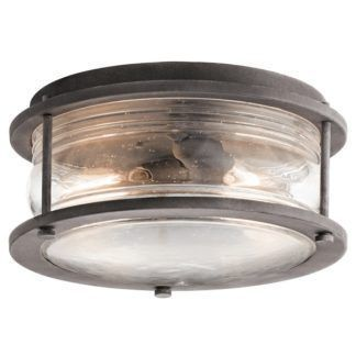 Szklana lampa sufitowa Ashlandbay - okrągły klosz w ciemnej oprawie, IP44