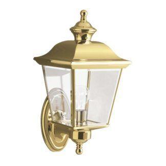 Efektowny kinkiet zewnętrzny Bay Shore - złota latarnia, szklany klosz, IP44