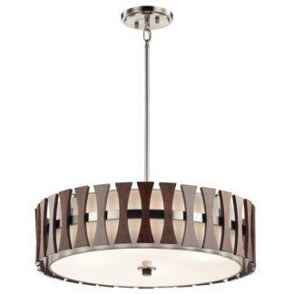 Elegancka lampa wisząca Cirus - beżowy klosz ozdobiony ciemnobrązowymi listewkami