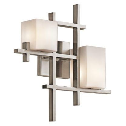 Oryginalny kinkiet City Lights - dwa klosze na geometrycznej siatce