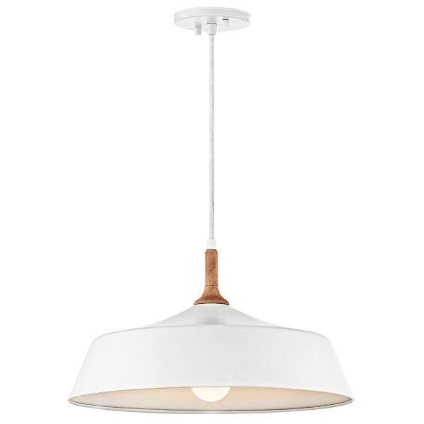 Biała lampa wisząca Danika - metalowy klosz, drewniane detale