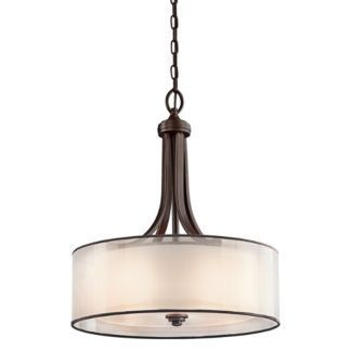 Duża lampa wisząca Simple - szklany i materiałowy klosz, brązowa oprawa