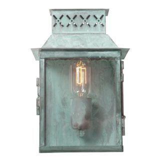 Stylowa lampa ścienna Lambeth - szklana latarnia, IP44
