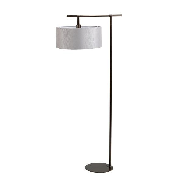 lampa podłogowa brązowa z szarym abażurem