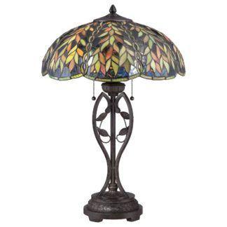 Klasyczna lampa stołowa Belle - witrażowy klosz, brązowa