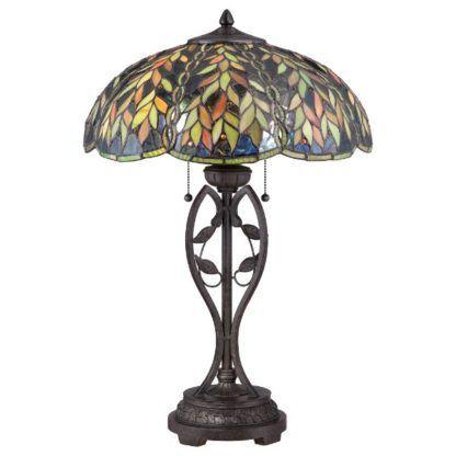 brązowa lampa stołowa z witrażowym kloszem