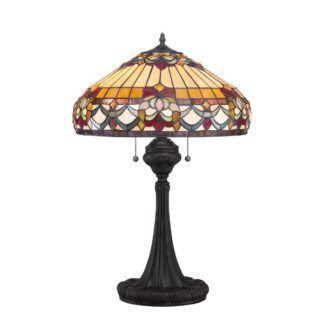 Witrażowa lampa stołowa Belle Fleur - dekoracyjna podstawa, ciemny brąz