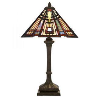 Klasyczna lampa stołowa Craftsman - brązowa, witrażowy klosz