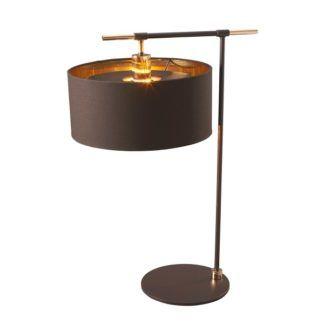 Ciemnobrązowa lampa stołowa Modern - nowoczesny desing, połyskujące wnętrze abażuru