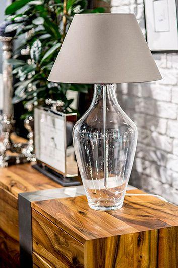 Elegancka lampa stołowa Valencia - szklana podstawa, szaro-beżowy abażur
