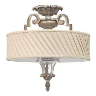 Klasyczna lampa sufitowa Kingsley - bogato zdobiona podstawa, plisowany klosz, szklane elementy