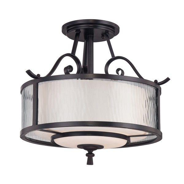lampa sufitowa w brązowej oprawie z mlecznym kloszem okrągły