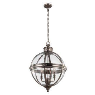 Duża lampa wisząca Adams - klasyczna, szklany klosz, srebrna oprawa