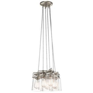 Oryginalna lampa wisząca Brinley - szklane klosze, srebrna, industrialna