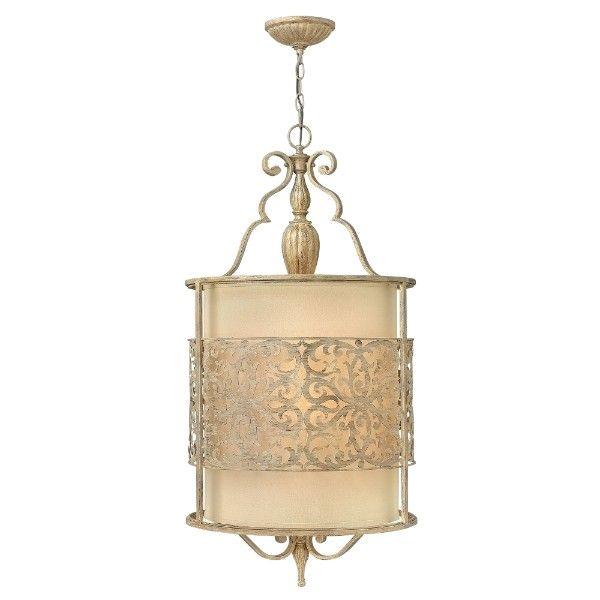 klasyczna lampa wisząca beżowa