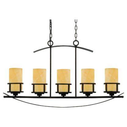 podłużna lampa wisząca nad stół z beżowymi kloszami