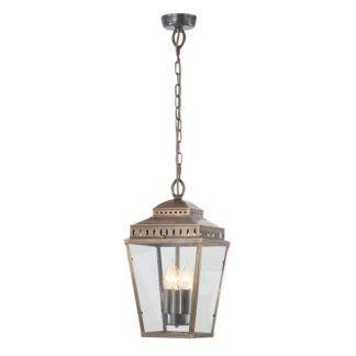 Klasyczna lampa wisząca Mansion House - mosiądz, szkło, IP44