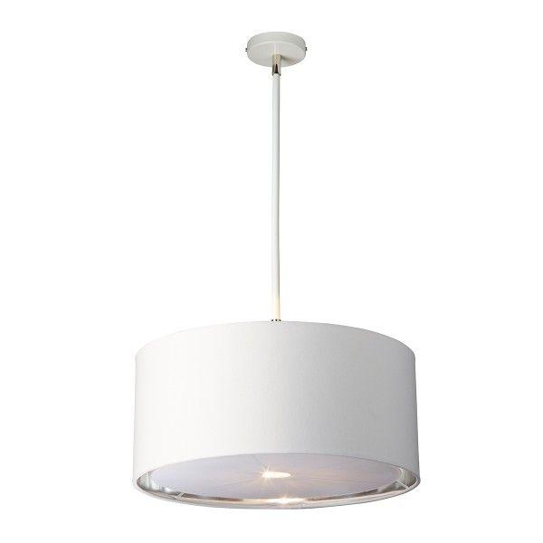 biała nowoczesna lampa wisząca z abażurem