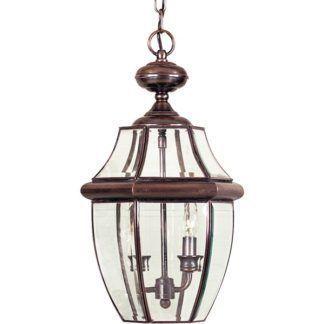 Szklana lampa wisząca Newbury - szklany klosz, brązowa oprawa, IP23