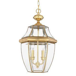 Szklana lampa wisząca Newbury - złota oprawa, klasyczna, IP23