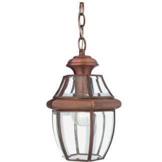 Mała lampa wisząca Newbury - szklana, antyczna miedź, IP23