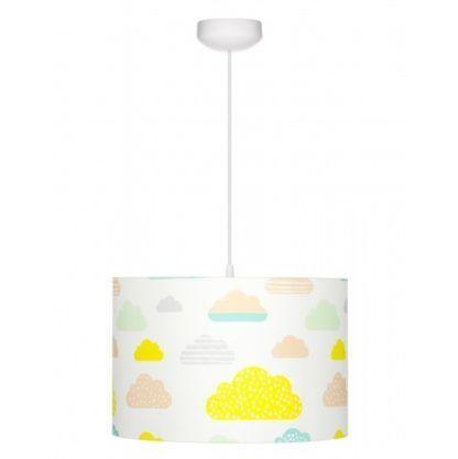 lampa dziecięca biała w kolorowe chmurki
