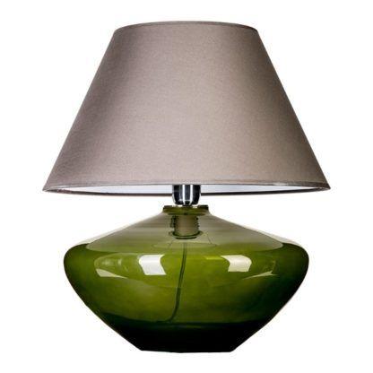 Oryginalna lampa stołowa Madrid Green - szeroka podstawa ze szkła, stożkowy abażur