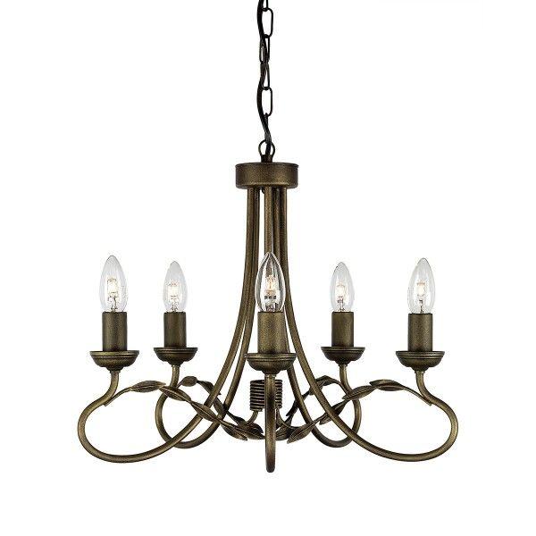 Piękny żyrandol Olivia - świecznik, florystyczny motyw, czarno-złoty